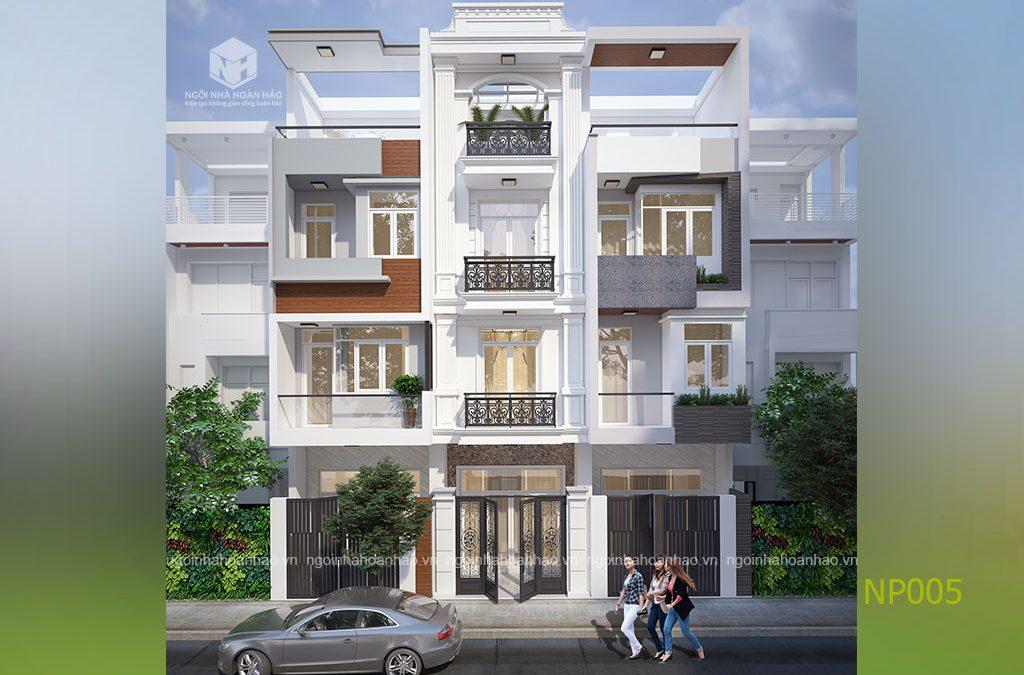 Thiết kế nhà phố 1 trệt 2 lầu 1 tum đẹp lung linh
