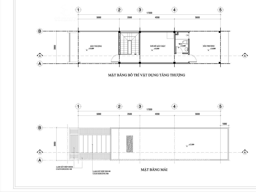 thiết kế nhà phố 1 trệt 2 lầu 1 tum