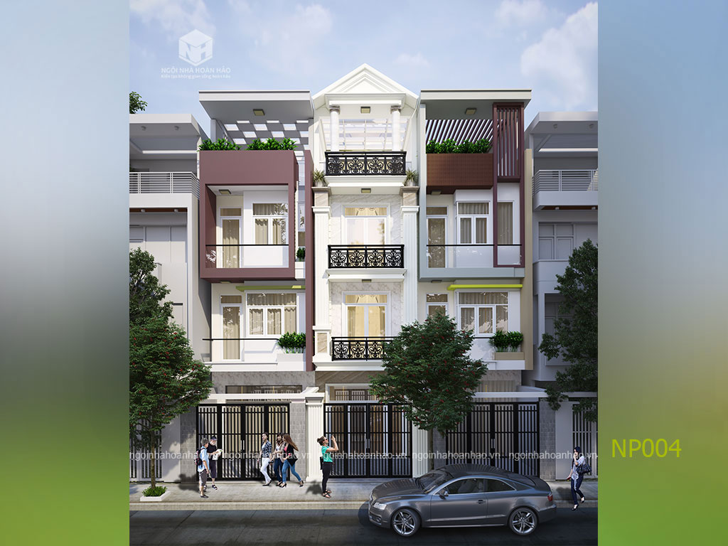 thiết kế nhà phố 3 tầng 1 tum đẹp xinh