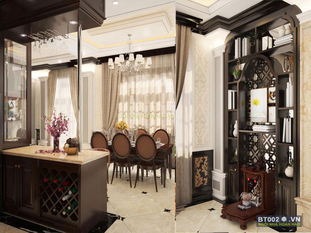 biệt thự cổ điển 3 tầng phòng ăn