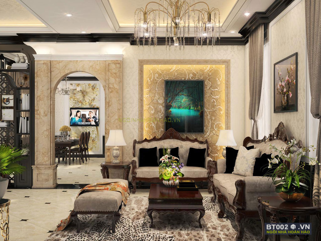 biệt thự cổ điển 3 tầng phòng khách 1