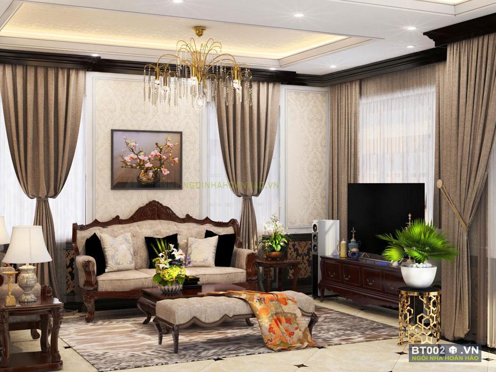 biệt thự cổ điển 3 tầng phòng khách 2