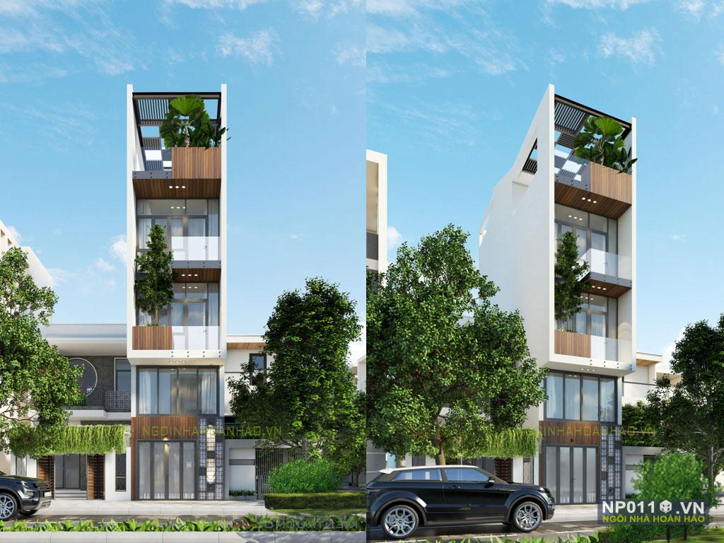 thiết kế nhà phố mặt tiền 4m NP011a