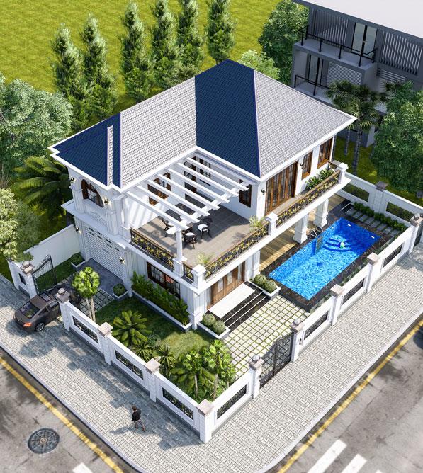 Biệt thự 2 tầng mái ngói trang chủ ngôi nhà hoàn hảo