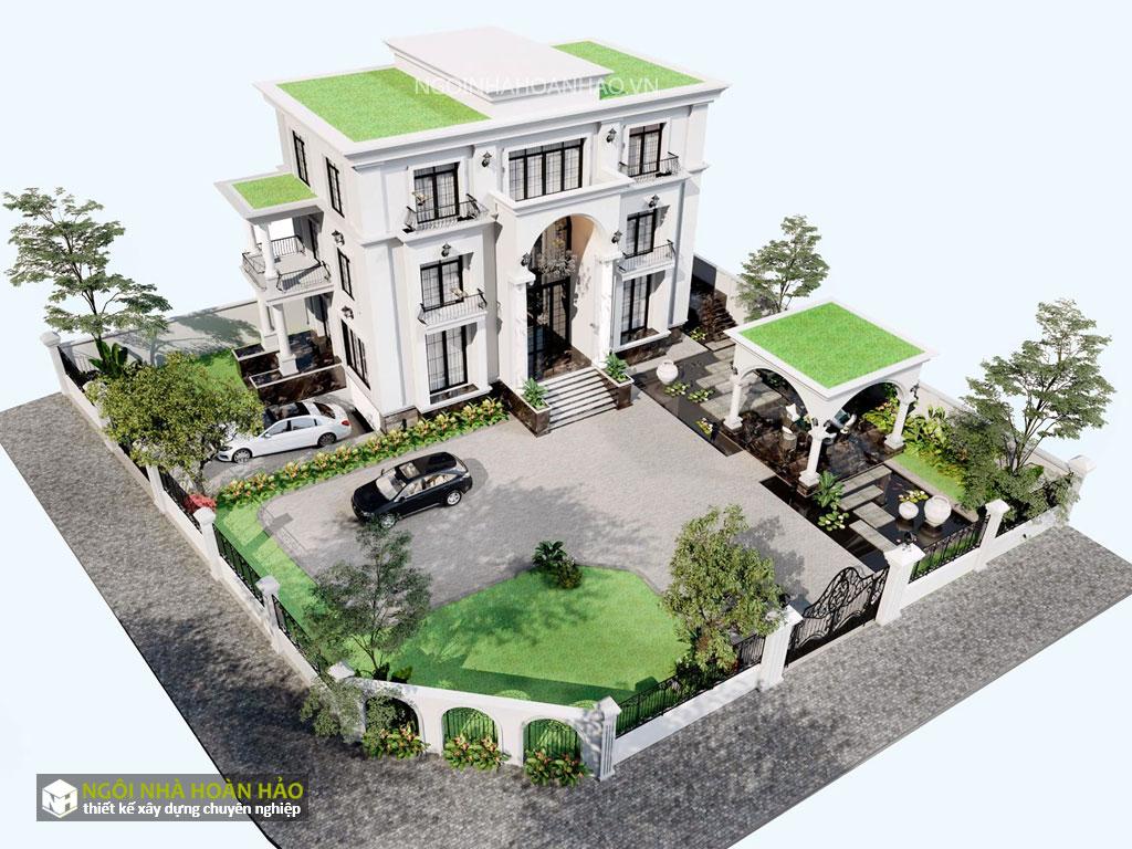 Tổng thể biệt thự tân cổ điển chị Ly ở Nghệ An