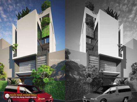 Phối cảnh 1 của nhà phố hiện đại chị Hạnh