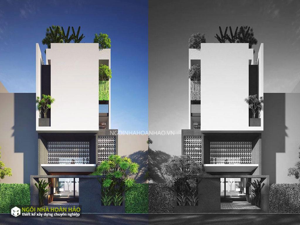 Phối cảnh 2 của nhà phố hiện đại chị Hạnh