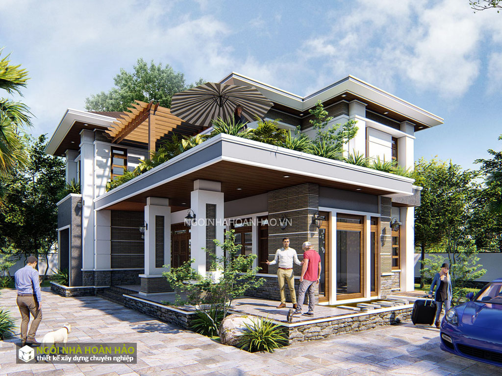 Phối cảnh 1: thiết kế biệt thự vườn anh Nam