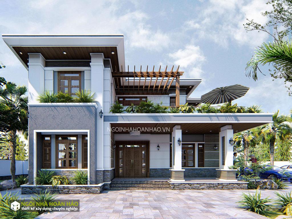 Phối cảnh 2: thiết kế biệt thự vườn anh Nam