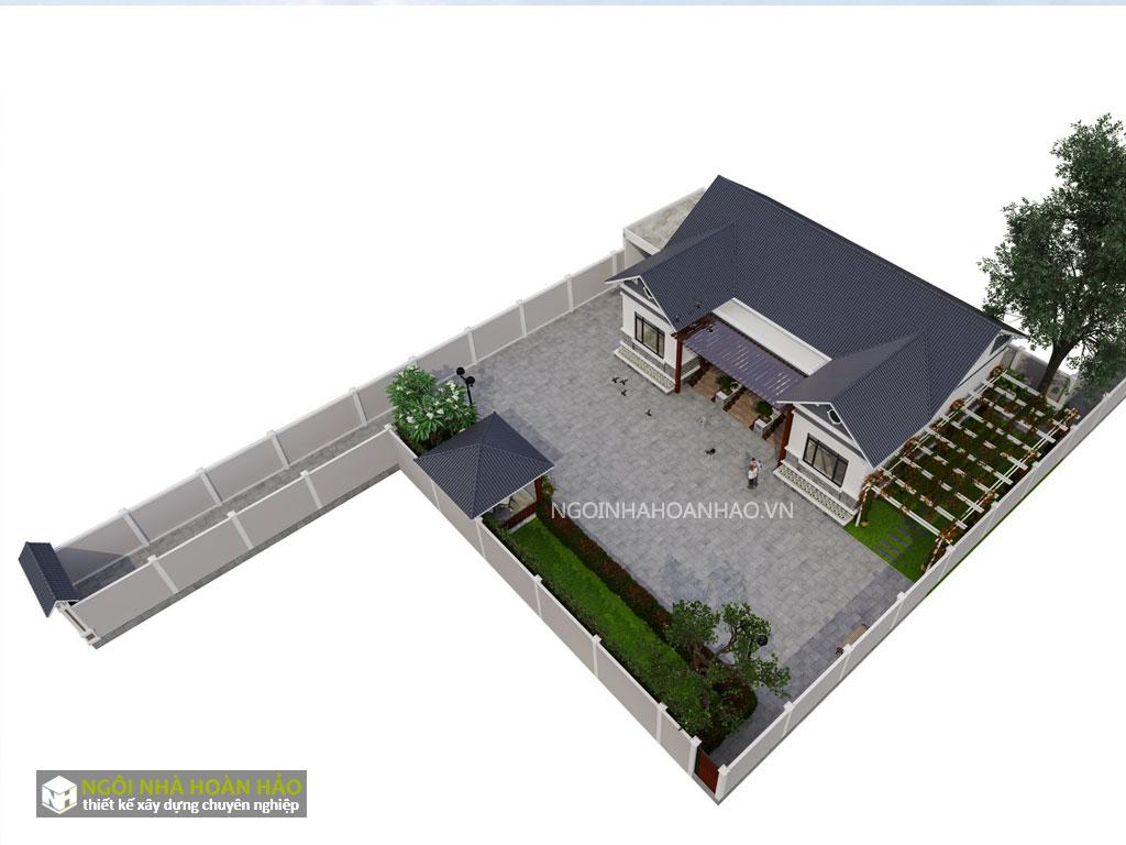 Thiết kế nhà vườn bác Xuân: phối cảnh tổng thể