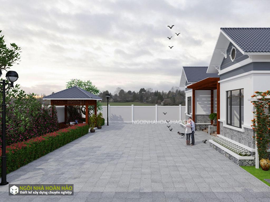 Thiết kế nhà vườn bác Xuân: sân vườn
