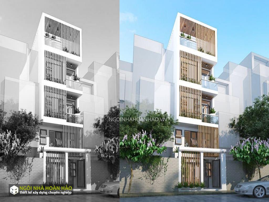Phối cảnh mẫu thiết kế nhà phố hiện đại 5 tầng