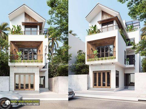 Phối cảnh nhà phố hiện đại 3 tầng của anh Vân (a)