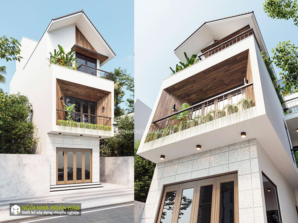 Phối cảnh nhà phố hiện đại 3 tầng của anh Vân (b)