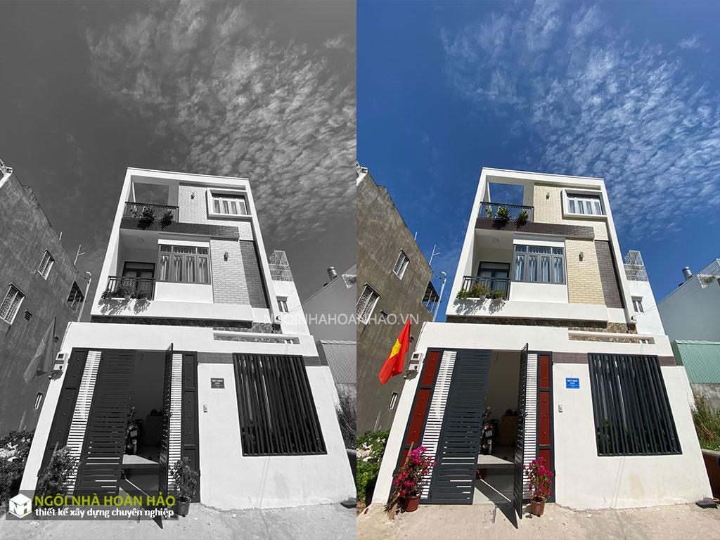Hình thực tế nhà phố hiện đại 3 tầng mặt tiền 6,8m