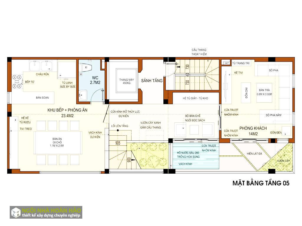 Thiết kế chung cư mini Thanh Vũ: mặt bằng tầng 5