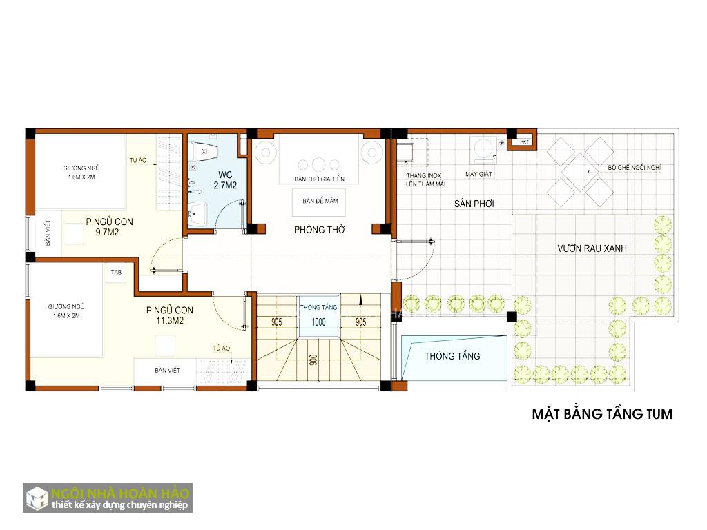 Thiết kế chung cư mini Thanh Vũ: mặt bằng tầng tum