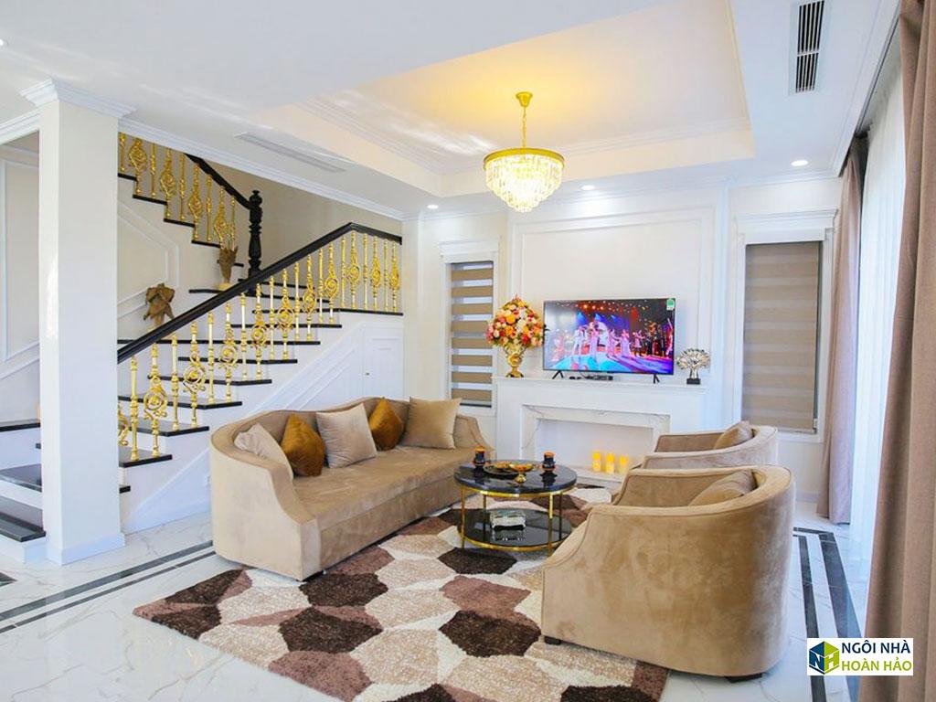 Phòng khách của căn nhà phố hiện đại cực đẹp