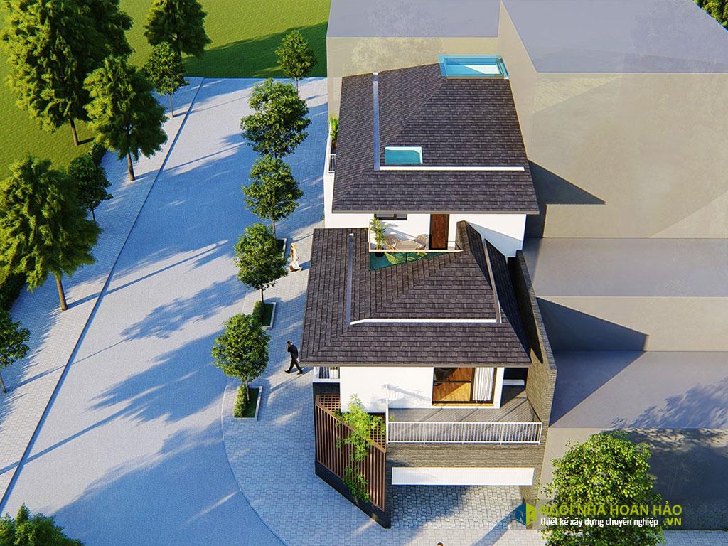 Tổng thể căn biệt thự hiện đại mái bánh ú 3 tầng