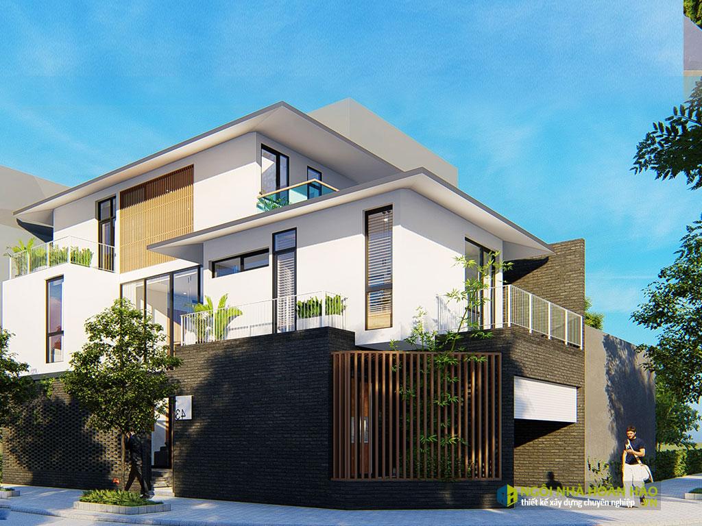 Phối cảnh góc biệt thự hiện đại đẹp ở Bắc Đồng Phú