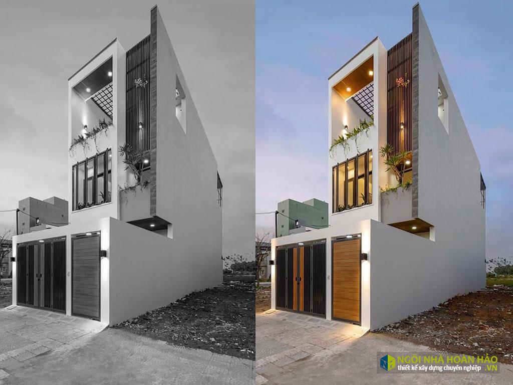 Hình ảnh thực tế mặt tiền nhà phố hiện đại