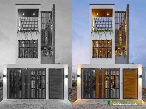 Hình thực tế nhà phố hiện đại 2 tầng: view mặt tiền
