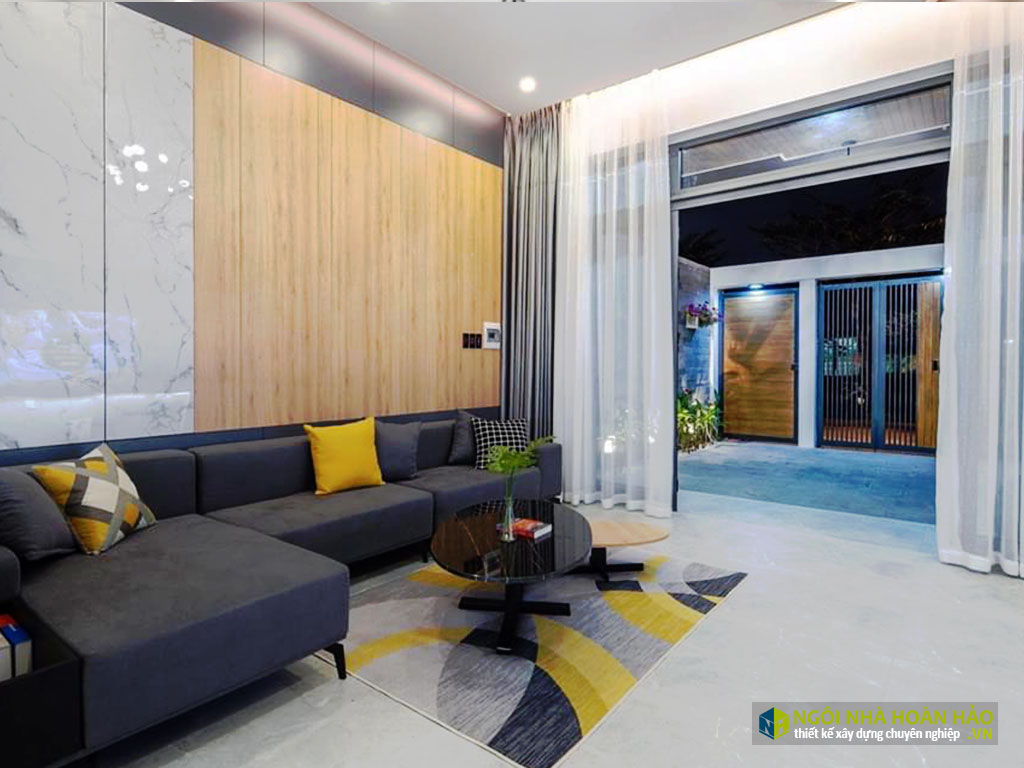 Hình thực tế nhà phố hiện đại: phòng khách