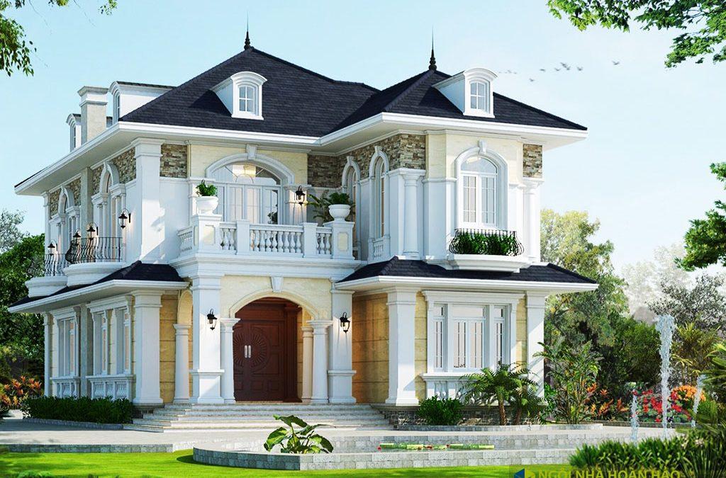 Phối cảnh mẫu nhà đẹp biệt thự 2 tầng