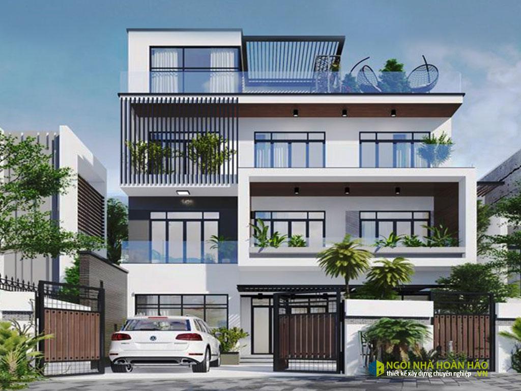 Phối cảnh mẫu nhà đẹp biệt thự hiện đại 4 tầng