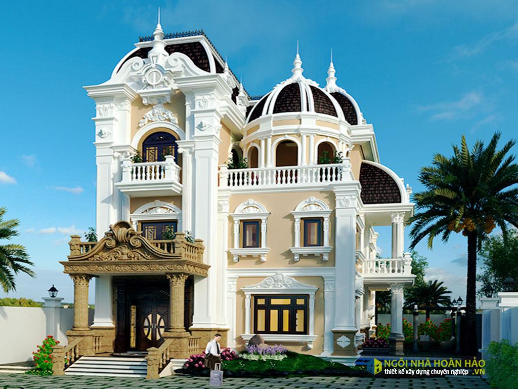 Phối cảnh mẫu nhà đẹp biệt thự tân cổ điển sang trọng
