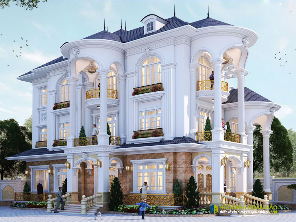 Phối cảnh mẫu nhà đẹp biệt thự 3 tầng