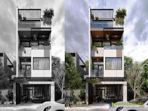 Phối cảnh 1 mẫu nhà phố đẹp mặt tiền 4,5m