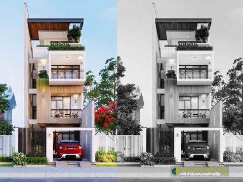 Phối cảnh mẫu nhà phố đẹp mặt tiền 5m