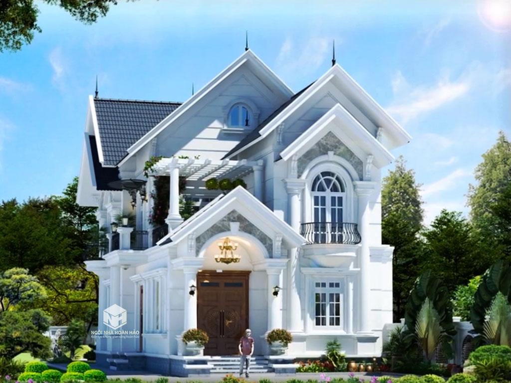 Mẫu thiết kế biệt thự tân cổ điển mái thái 2 tầng đẹp