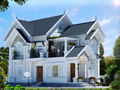 Mẫu thiết kế biệt thự tân cổ điển mái thái đẹp