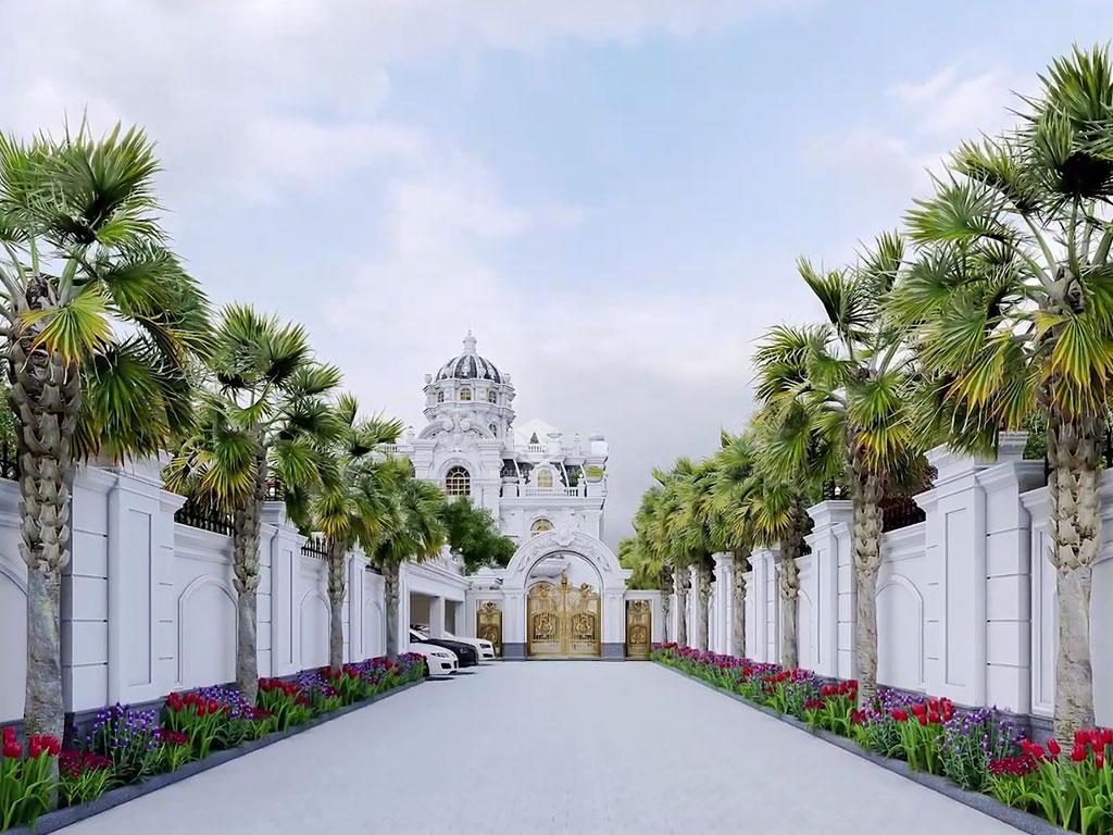 Chi tiết lối đi, cổng siêu biệt thự đẹp Bình Phước