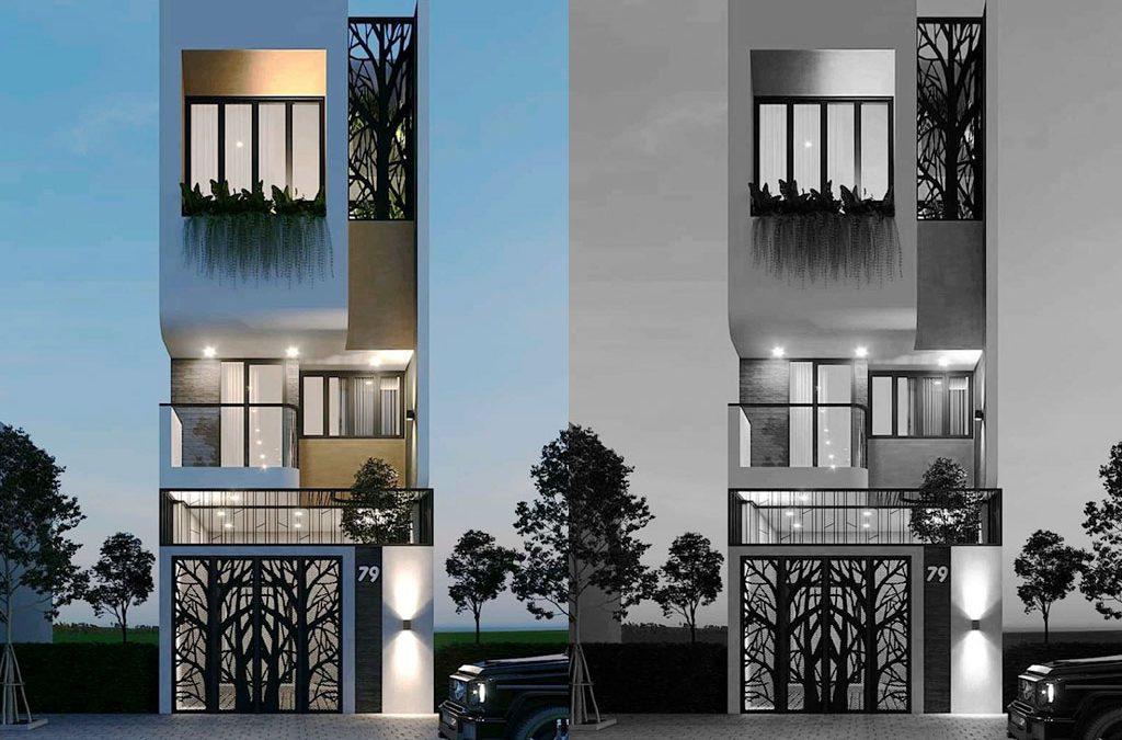 Mẫu nhà phố 3 tầng đẹp hiện đại phá cách hiện d